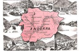Andorra - Andorre - Landkarte - Map - Old Views - Nice Stamp Timbre - Andorra