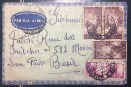 1950 DEMOCRATICA  - SU BUSTA VIAGGIATA DA LUCCA X SAN PAOLO DEL BRASILE - 6. 1946-.. Repubblica