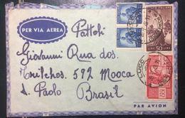 1949 DEMOCRATICA  - SU BUSTA VIAGGIATA DA LUCCA X SAN PAOLO DEL BRASILE - 6. 1946-.. Repubblica