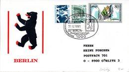 """(FC-6) BRD Sonder-Umschlag """"Letzter Gültigkeitstag Der BERLIN Postwerzeichen"""" MiF WB SSt.31.12.1991 BERLIN 12 - Storia Postale"""