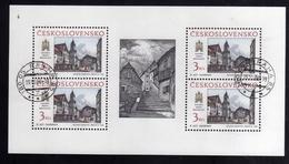CZECHOSLOVAKIA CESKOSLOVENSKO CECOSLOVACCHIA 1988 PRAGA 88 PRAHA PRAGUE BRATISLAVA VIEWS BLOCK SHEET USED - Blocchi & Foglietti