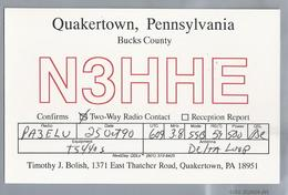 US.- QSL KAART. CARD. N3HHE. Timothy J. Polish, QUAKERTOWN, PENNSYLVANIA, BUCKS COUNTY. U.S.A.. - Radio-amateur