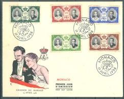 MONACO - FDC - 19.4.1956 -  RAINIER GRACE MARIAGE WEDDING  - Yv 473-477 - Lot 20134 - FDC