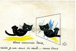 CHATS - Chat Devant Un Miroir. Illustrateur: BIZ - Katten