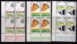 ISRAEL, 1984, Control Blocks With Tabs Of Mint Stamps, Hevel Ha-Besor, SG921-923,  X997 - Blokken & Velletjes