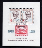 CZECHOSLOVAKIA CESKOSLOVENSKO CECOSLOVACCHIA 1988 PRAGA 88 PRAHA PRAGUE EXHIBITION EMBLEM ALFONS MUCHA BLOCK SHEET USED - Blocchi & Foglietti