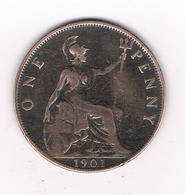 ONE PENNY  1901  GROOT BRITANNIE /6086// - 1816-1901 : Frappes XIX° S.