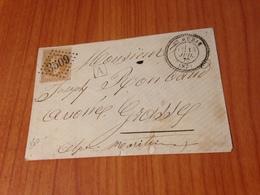 SAINT AUBAN ( 06) GC 3509 Superbe -indice 8 ( Pothion )- Lettre 1870 Non écrite    ( Port à Ma Charge ) - Postmark Collection (Covers)