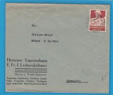 """HERTENER TAPETENHAUS,HERTEN.BRIEF MIT NOTHILFEMARKE """"BAUER(Mi.561). - Germania"""