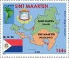 St Maarten    2010  Onafhandelijkheid  Landkaart   Independence  Map Stamp Nr 1       Postfris/mnh/neuf - Ungebraucht