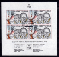 CZECHOSLOVAKIA CESKOSLOVENSKO CECOSLOVACCHIA 1987 PRAGA 88 PRAHA PRAGUE INTERKOSMOS BLOCK SHEET USED - Blocchi & Foglietti
