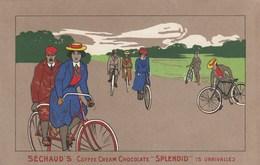 CPA Lithographiée Publicité SECHAUD'S Coffee SPLENDID Vélo Bicyclette Cycliste Cicling Radsport Illustrateur (2 Scans) - Radsport