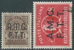 1947 TRIESTE A RECAPITO AUTORIZZATO USATO 2 VALORI - RA28-2 - 7. Triest