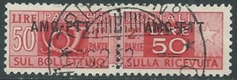 1949-53 TRIESTE A PACCHI POSTALI USATO 50 LIRE - RA28-8 - Paketmarken/Konzessionen