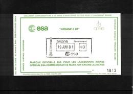 France / Frankreich  1981  Space / Raumfahrt  Launching Of Ariane Interesting Cover - Briefe U. Dokumente