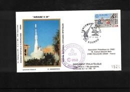 France / Frankreich  1989 Kourou Space / Raumfahrt  Launching Of Ariane Interesting Cover - Briefe U. Dokumente