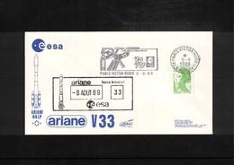 France / Frankreich  1989 Space / Raumfahrt  Launching Of Ariane Interesting Cover - Briefe U. Dokumente