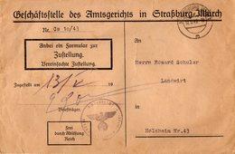 TB 2566 - Guerre 39 / 45 - LSC - Lettre De STRASBOURG 1943 Pour HOLZHEIM - Guerre De 1939-45