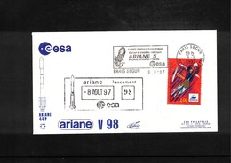 France / Frankreich  1997  Space / Raumfahrt  Launching Of Ariane Interesting Cover - Briefe U. Dokumente