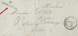 """DF40266/610 - ✉️ (LAC) Du 30 OCTOBRE 1850 - CURSIVE """" 37 GROLLES D'ISERE """" - GRENOBLE à BOURG D'OISANS - TAXE MANUSCRITE - Marcophilie (Lettres)"""