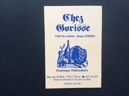 CARTE DE VISITE CHEZ GORISSE  Les Rendez-Vous Parisiens  ÉDITION 1984/1985 - Visitekaartjes