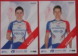 Cyclisme : 2  Cartes Officielles FDJ Groupama 2019  David Gaudu , Arnaud Demare - Cycling
