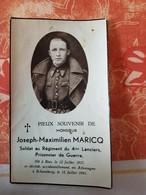 BIEZ JOSEPH-MAXIMILIEN MARICQ Régiment Du 4 éme Lanciers,prisonnier De Guerre Né Le 12/07/1917 Decédé 12/07/1941 - Images Religieuses