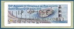 LISA 2 (ATM) IP ***1,25 EUR LETTRE PRIORITAIRE INTERNATIONALE Sur Papier Philapostel - Saint Denis D'Oléron - Faros