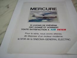ANCIENNE PUBLICITE AVION MERCURE AVEC AIR INTER 1976 - Aviazione Commerciale