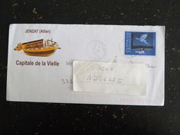 JENZAT - ALLIER - CACHET ROND MANUEL SUR PAP OISEAU BIRD MAGRITTE - CAPITALE DE LA VIELLE A ROUE - Poststempel (Briefe)