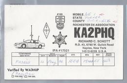 US.- QSL KAART. CARD. KA2PHQ. RICHARD C. SCHOTT, NAPLES, NEW YORK. MOBILE STATE COUNTY. ROCHESTER DX ASSOCIATION. U.S.A. - Radio-amateur
