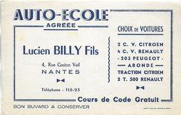 BUVARD BLOTTING PAPER AUTO-ECOLE BILLY NANTES 44 VOITURES 2 CV CITROEN 4 CV 203 - Moto & Vélo