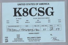 US.- QSL KAART. CARD. K8CSG. WILLIAM R. GARY, HOUSTON, TEXAS. HARRIS COUNTY. U.S.A. - Radio-amateur