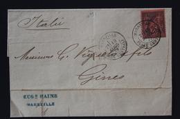 France Lettre Yv 91 Marseille -> Genova 1879 - Marcofilie (Brieven)
