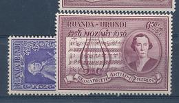 RUANDA URUNDI MUSIC MOZART QUEEN ELISABETH SET COB 200/201 MNH - 1948-61: Neufs