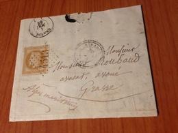 SERANON  ( 06)  GC 4513 - INDICE 12.5 (pothion )- Lettre Ecrite 1868 -  (port à Ma Charge ) - Postmark Collection (Covers)