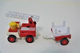 Kosto Toys,M.depose Firefighter Firetruck With Trailer , Made In France, 1980's *** 8 Cm (style Tonka) - Dinky