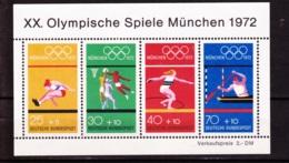 1972  München,  Deutsche Bundespost, Block (4 Werte), Postfrisch - Sommer 1972: München