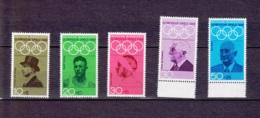 1968  Olympische Sommerspiele, Mexiko (5 Werte), Deutsche Bundespost, Postfrisch - Sommer 1968: Mexico