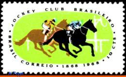 Ref. BR-1086 BRAZIL 1968 ANIMALS, FAUNA, CENT. JOCKEY CLUB,, HORSE RACE, MNH 1V Sc# 1086 - Ippica