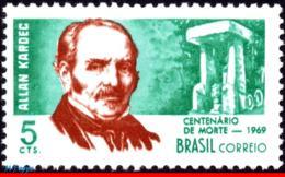 Ref. BR-1118 BRAZIL 1969 FAMOUS PEOPLE, ALLAN KARDEC, WHITER,, SPIRITIST, MI# 1207, MNH 1V Sc# 1118 - Ungebraucht