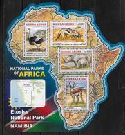 SIERRA LEONE  Feuillet  N°  5973/76  * *  ( Cote 20e )  Autruche Renard Rhinoceros Antilope Parc Namibie - Rinocerontes