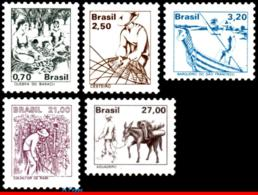 Ref. BR-1653-57 BRAZIL 1979 JOBS, NATIONAL PROFESSIONS,, SET COMPLETE MNH 5V Sc# 1653-1657 - Beroepen