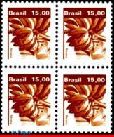 Ref. BR-1665-Q BRAZIL 1983 FRUITS, ECONOMIC RESOURCES,, BANANAS, BLOCK MNH 4V Sc# 1665 - Blokken & Velletjes