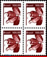 Ref. BR-1677-Q BRAZIL 1981 FRUITS, ECONOMIC RESOURCES,, CASHEWS, BLOCK MNH 4V Sc# 1677 - Brazilië