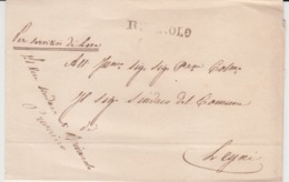 USED LETTER RIVAROLO LEYNI TORINO GRIFFE ET CACHET ROUGE - 1. ...-1850 Prephilately