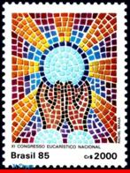 Ref. BR-2010 BRAZIL 1985 RELIGION, NATL.EUCHARISTIC CONGRESS, , MOSAIC, MNH 1V Sc# 2010 - Cristianesimo