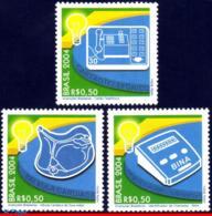 Ref. BR-2930-32 BRAZIL 2004 SCIENCE, BRAZILIAN INVENTIONS,, HEALTH, TELEPHONES, MI# 3376-78,SET MNH 3V Sc# 2930-2932 - Medizin