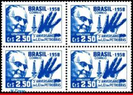 Ref. BR-883-Q BRAZIL 1958 FAMOUS PEOPLE, PRESIDENT GETULIO VARGAS,, PETROBRAS, OIL LAW, SCIENCE, MNH 4V Sc# 883 - Petrolio