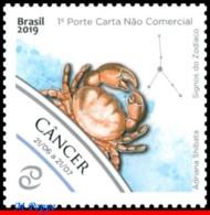 Ref. BR-V2019-11 BRAZIL 2019 - ASTROLOGY, ZODIAC SIGNS, CANCER,, 4TH ISSUE, CONSTELLATION OF CANCER, MNH,1V - Brésil